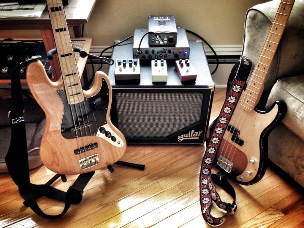 '75 Jazz Bass, 50's Precision Bass, Aguilar Tone Hammer and SL 112, Aguilar pedals, SVT Vacuum Tube DI.
