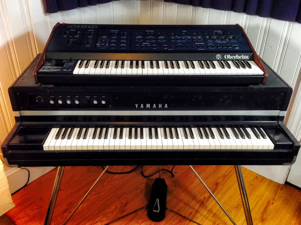 Yamaha CP-70 and Oberheim OB-8.