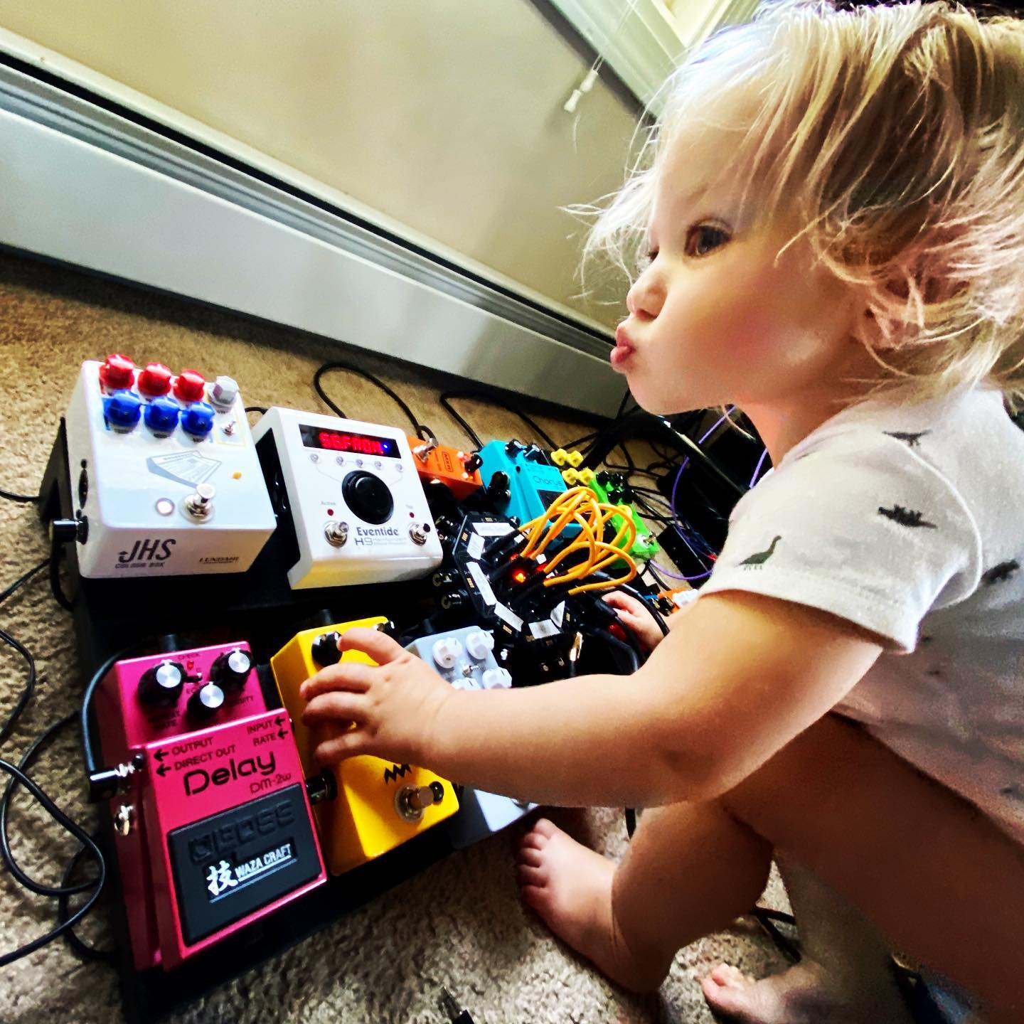 Violet and I are repatching the pedalboard with a Patchulator 8000