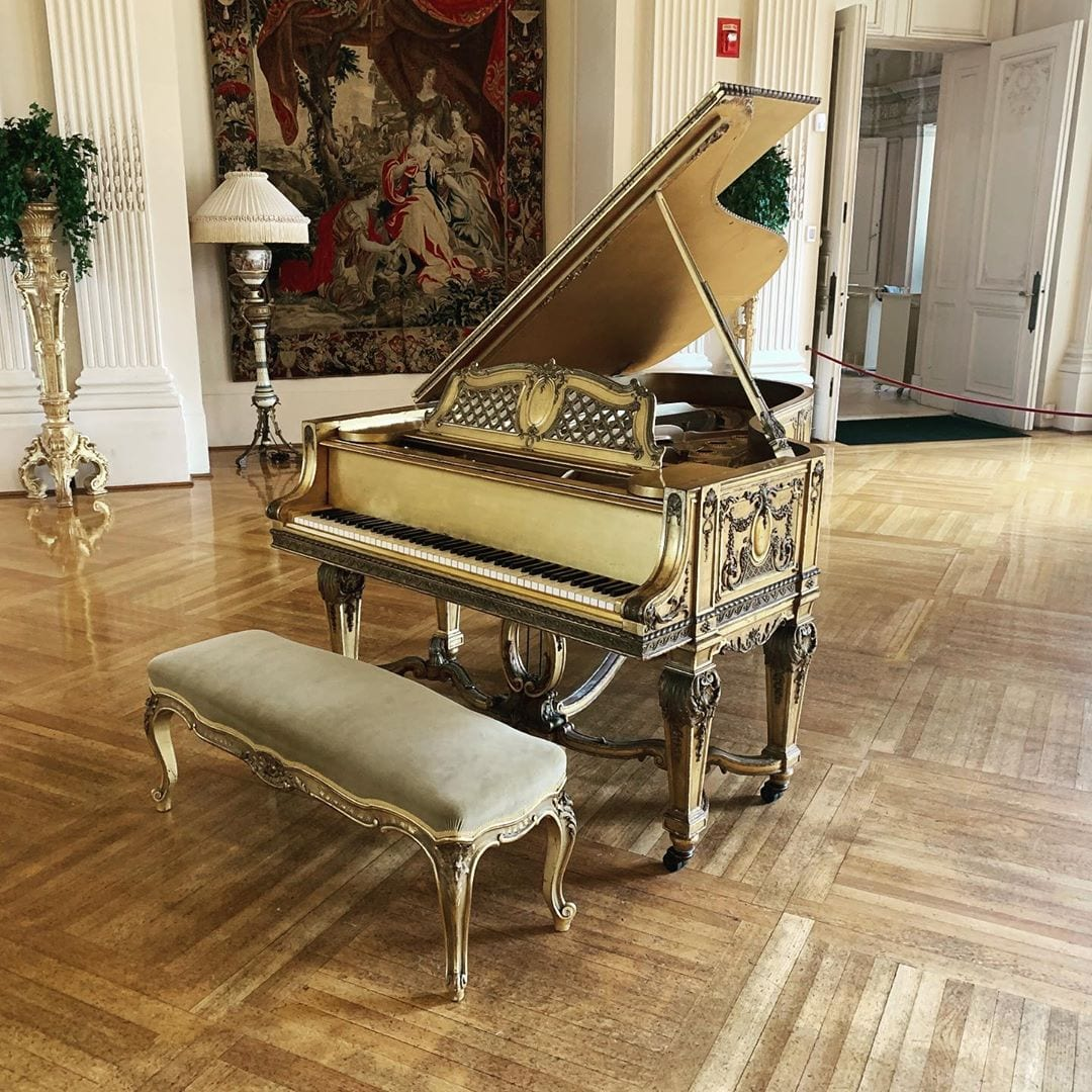 The gold piano they wouldn't let me play for my gig at the Rosecliff Mansion in Newport, RI